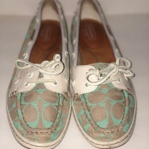 Coach cream and teal loafers/boat shoes